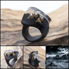 "You can buy rings of these sizes right now from the warehouse and you do not have to wait until they are made. The wood ring ""Mont Blanc"" is made of valuable species of black hornbeam and inserts made of jewelry resin. 
