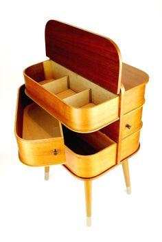 Vintage 1960s SEWING BOX Mid Century Danish Modern Art Deco 70s 50s Era