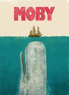 Classic alternative Moby Dick poster by Terry Fan Whale Canvas, Whale Art, Big Whale, Whale Song, Moby Dick, Terry Fan, White Whale, Wale, Vintage Design