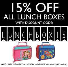 15% OFF ALL LUNCH BOXES. Not applicable to past purchases. Expires @ Midnight on Monday November 30th. #BlackFriday http://ift.tt/1Ily4KQ