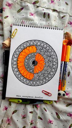 Easy Mandala Drawing, Mandala Art Lesson, Doodle Art Drawing, Mandala Artwork, Mandela Art, Watercolor Mandala, Doodle Art Designs, Arte Sketchbook, Indian Art Paintings