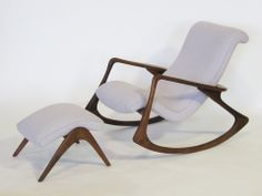 Contour rocking chair and ottoman by Vladimir Kagan - Rocking Armchair White Rocking Chairs, Upholstered Rocking Chairs, Wooden Rocking Chairs, Chair And Ottoman, Black Chairs, Glider Rocking Chair, Nursery Rocker, Baby Chair, Toddler Girls