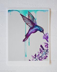 Hummingbird Art / purple and turquoise