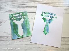Shaving cream stenciling Father's Day cards