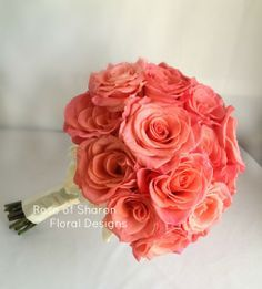 Coral rose bouquet