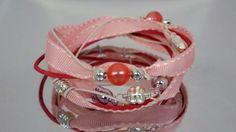 Rosa himbeer pink Stoff  Leder Wickelarmband von *MeinBändchen* auf DaWanda.com