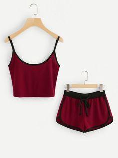 Ringer Crop Cami Top With Drawstring Shorts