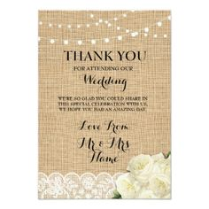 #rustic - #Thank You Cards Wood Lights Rustic Burlap Lace