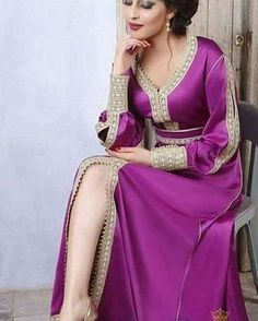 Picture of Fantasy Fuchsia Color Melody Saree Morrocan Dress, Moroccan Caftan, Abaya Fashion, Modest Fashion, Fashion Dresses, Arabic Dress, Oriental Dress, Caftan Dress, Gowns Of Elegance