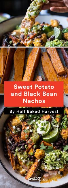 Sweet Potato and Black Bean Nachos With Green Chile Salsa -- Healthy Comfort Food Recipes : greatist Mexican Food Recipes, Vegetarian Recipes, Cooking Recipes, Healthy Recipes, Vegetarian Nachos, Clean Food Recipes, Health Food Recipes, Free Recipes, Paleo Ideas