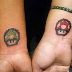 This Super Mario Bros. set. | 23 Geeky Couple Tattoos That Are Beyond Perfect