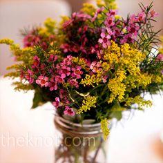 love wild flowers in mason jars