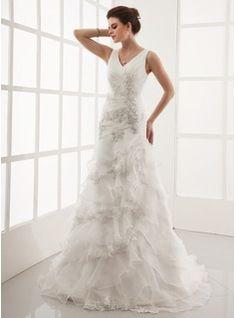 Bröllopsklänningar - $265.99 - A-linjeformat V-ringning Domstolen Tåg Organzapåse Bröllopsklänning med Spetsar Pärlbrodering Svallande Krås  http://www.dressfirst.com/se/A-Linjeformat-V-Ringning-Domstolen-Tag-Organzapase-Broellopsklaenning-Med-Spetsar-Paerlbrodering-Svallande-Kras-002000398-g398