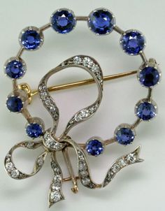 Belle Epoque Sapphire and Diamond Bow Pin.