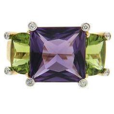 Colori Amethyst Peridot diamond gold three stone ring