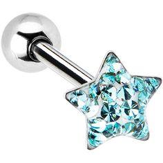 Dome Aqua Star Gem Barbell Tongue Ring $8.99