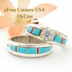 size 8 14 turquoise red coral engagement bridal wedding ring set native american wilbert muskett jr ws 1648 - Native American Wedding Rings