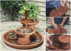 Creative Ideas - How To Build A Terracotta Fountain #craft #garden #fountain