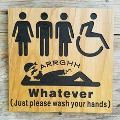 All Gender Restroom Sign Whatever Just Wash Your Hands Standing - Unisex handicap bathroom sign