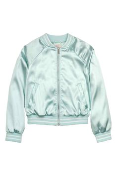 Satin bomber jacket: Bomber jacket in high-shine satin with a ribbed collar, zip down the front, side pockets, long raglan sleeves and ribbing at the cuffs and hem. Jersey lining.
