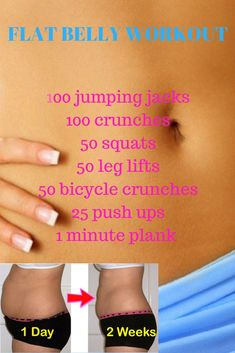 Flat belly workout, get a flat belly in 2 weeks with these exercises.