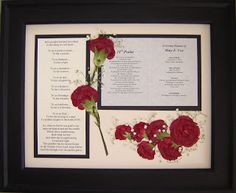 Pressed Flower Art Made From Flowers Gathered at a Memorial Service and Arranged Around a Poem and Funeral Card.  www.pressedgarden.com