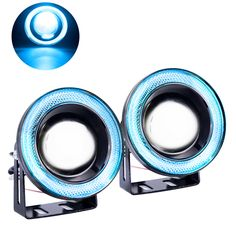 ==> [Free Shipping] Buy Best 2PCS Car Cob led 12v waterproof fog lamp angel eyes fog light Projector Lens daytime running White Blue 12V SUV ATV Off Road Online with LOWEST Price | 32754013278