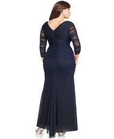 Adrianna Papell Plus Size Dress, Three Quarter Sleeve V-Neck Ruched Evening Gown - Plus Size Dresses - Plus Sizes - Macy's $219