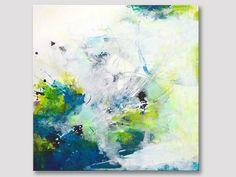 Original Kunst große abstrakte Malerei, abstrakte Kunst, moderne Kunst, Acrylmalerei, gelb grün türkis, Leinwand Kunstwerke, Kühne Farben