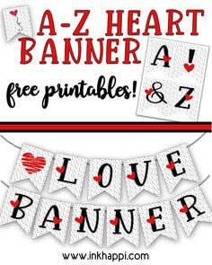 Love heart banners in red, black and white with a tiny black heart background. All letters from A-Z plus some fun hearts are ready to print. Print them up and share a fun banner message for someone special or use as initial Valentines! #hearts #freeprintable #banners #valentines Dr Seuss Printables, Valentine's Day Printables, Printable Designs, Dr Seuss Crafts, Graphic Design Fonts, Heart Banner, Valentine Day Crafts, Valentines Hearts, Free Printable Coloring Pages