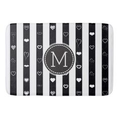 Monogram Black White Stripes Modern Heart Pattern Bathroom Mat - girly gift gifts ideas cyo diy special unique