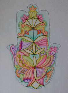 Jerusalem HAMSA - Mandala style, signed print ,by artist: Zoharit Rubin. $15.00, via Etsy.