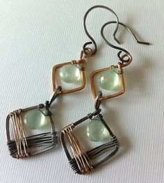 love the mix of metals and wrap w/thick square frame.  prehnite beads. (flickr ankiosandor)