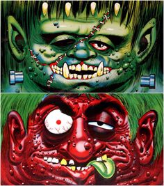 1967 Topps Block Heads paper masks Designed by Wally Wood and Basil Wolverton. Painted by Norman Saunders