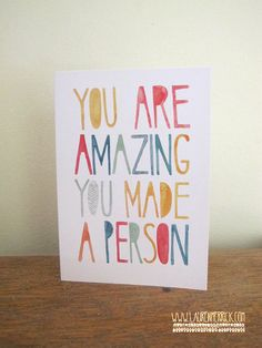 Know someone who has recently had a baby? This card is a quirky way to congratulate the parents and to acknowledge the amazing journey theyve been on.  The original artwork was done using watercolour. This card is printed on 100% recycled stock and is A6 (approx. 14.5 x 10.5cm) It will be sent in a bend proof envelope in a cellophane case (100% biodegradable) and comes with a plain white envelope.