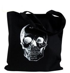 Skull Tote Bag  - Anatomical Skull  Illustration on a Black Bag. $12 Etsy (theboldbanana)