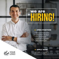 hiring poster design Customize this design with yo - posterdesign Social Media Banner, Social Media Design, Social Media Graphics, Hiring Poster, Newspaper Design Layout, Advertisement Template, Web Design Trends, Design Web, We Are Hiring