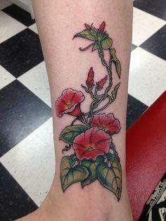morning glory flower tattoo (15)