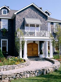 double-wide front door or framed stone walkway - LOVE this idea for the basement entry -- Wonder how to make it more cottagey My Home Design, House Design, Murs Roses, Front Entry, Door Entry, House Entrance, Entrance Doors, Wood Front Doors, Front Door Design