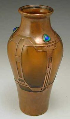 Loetz Art Nouveau Orange Glass Vase with Copper Overlay / c. 1905, Austria