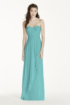 Simply stunning, your bridal party is sure to look flawless in this strapless crinkle chiffon dress!  Strapless bodice features a sweetheart neckline and ruched detail.  Cascade front skirt adds drama and movement to this classic silhouette.  Fully lined. Imported polyester. Back zipper. Dry clean only.  Also available in a shorter length as Style F14847.