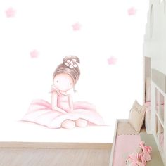 Decoración infantil Il Mondo di Alex, Papel mural efecto pintado a mano, BAILARINA SENTADA MORENA ... personalizado con nombre o frase y a medida.