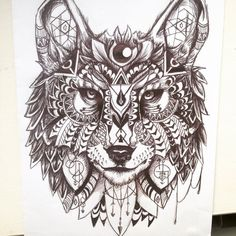 geometric wolf tattoo - Google Search