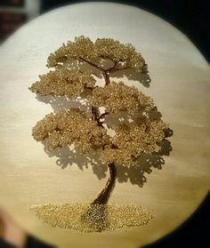 Beaded bonsai  تابلوی درخت منجوقی طلایی
