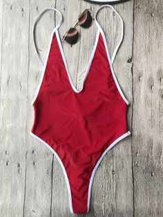 0a4dc00962 SHARE & Get it FREE | Contrast Piping High Cut One Piece Swimsuit - Red SFor