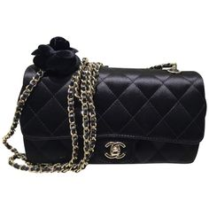 Pre-owned Chanel Satin Camellia Flap Black Cross Body Bag ($3,250) ❤ liked on Polyvore featuring bags, handbags, shoulder bags, black, black crossbody, crossbody purse, black shoulder handbags, black cross body purse and chanel shoulder bag