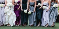 a line-up of purples and grays. dresses by J.Crew  Photography by http://erinheartscourt.com