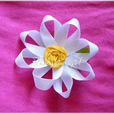 White Daisy Ribbon Flower Hair Clip or Pin Yellow Covered Button