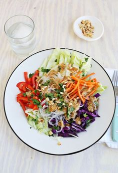 Spring Roll Salad with Spicy Peanut Dressing
