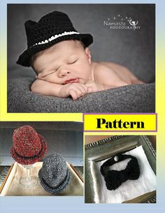 Crochet Newborn Fedora Photo Prop and Bowtie by TheContraryCanary, $4.00